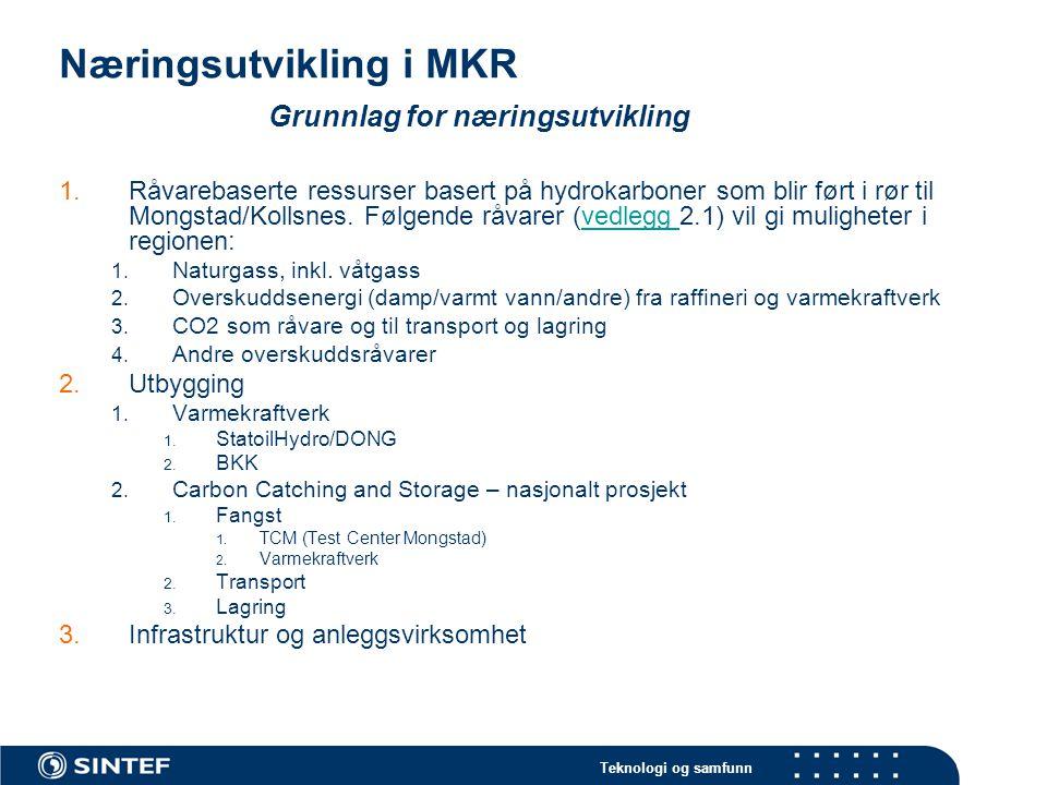 Teknologi og samfunn Næringsutvikling i MKR Grunnlag for næringsutvikling 1.Råvarebaserte ressurser basert på hydrokarboner som blir ført i rør til Mongstad/Kollsnes.