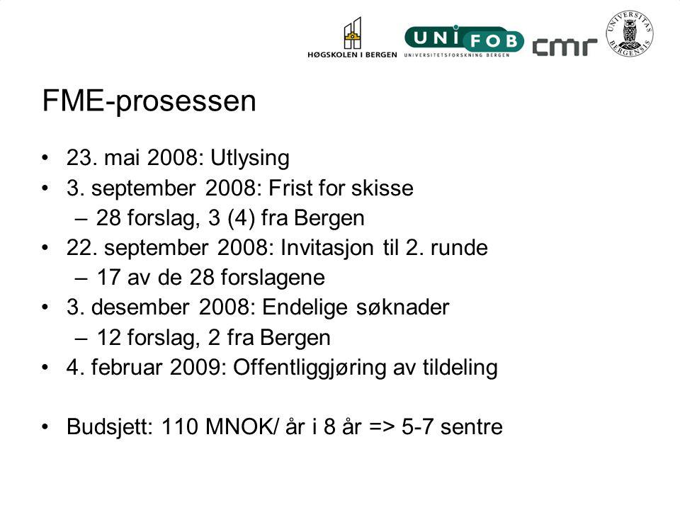 Forskningsområder i Bergen Følgende forskningsområder ble identifisert mot FME: –CO2-lagringEnergi21, FME-skisse Naturgass fra hydrat –BrenselcellerEnergi21 –Dyp geotermisk energi FME-skisse x –VindkraftEnergi21, FME-skisse –PassivhusteknologiEnergi21 –Kjernekraft FME-skisse x I tillegg er Bergensforskere involverte i prosjekter med aktører andre, spesielt i Trondheim og Oslo