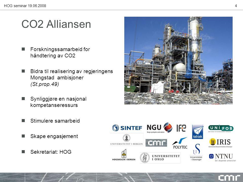 HOG seminar 19.06.20084 CO2 Alliansen nForskningssamarbeid for håndtering av CO2 nBidra til realisering av regjeringens Mongstad ambisjoner (St.prop.49) nSynliggjøre en nasjonal kompetanseressurs nStimulere samarbeid nSkape engasjement nSekretariat: HOG