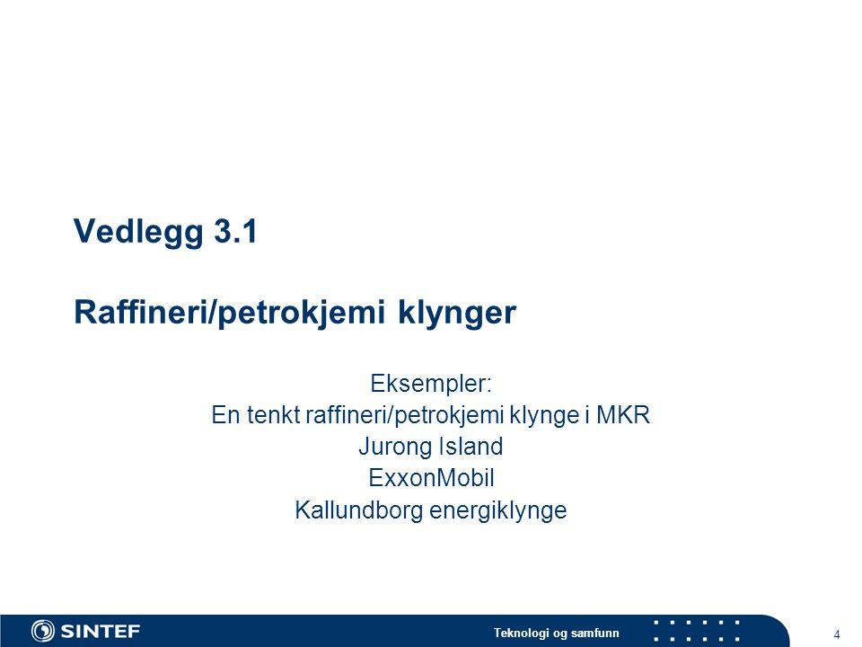Teknologi og samfunn 4 Vedlegg 3.1 Raffineri/petrokjemi klynger Eksempler: En tenkt raffineri/petrokjemi klynge i MKR Jurong Island ExxonMobil Kallund