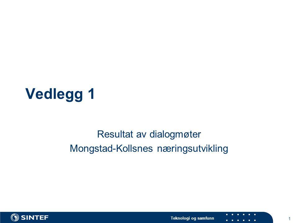 Teknologi og samfunn 1 Vedlegg 1 Resultat av dialogmøter Mongstad-Kollsnes næringsutvikling