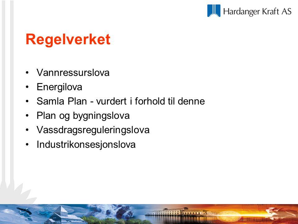 Regelverket Vannressurslova Energilova Samla Plan - vurdert i forhold til denne Plan og bygningslova Vassdragsreguleringslova Industrikonsesjonslova