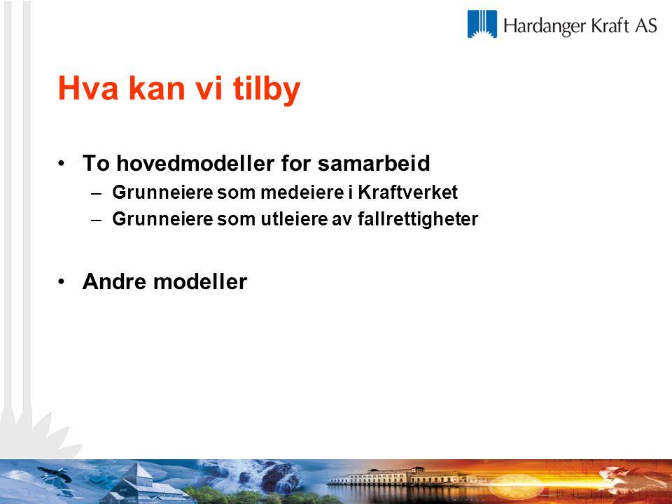 Hva kan vi tilby To hovedmodeller for samarbeid –Grunneiere som medeiere i Kraftverket –Grunneiere som utleiere av fallrettigheter Andre modeller
