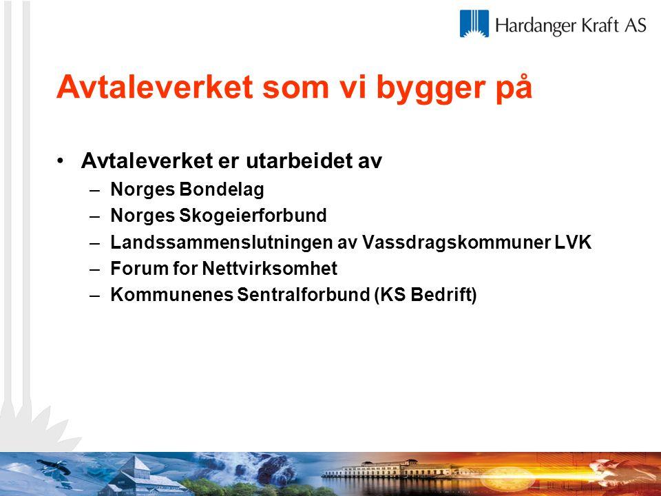 Avtaleverket som vi bygger på Avtaleverket er utarbeidet av –Norges Bondelag –Norges Skogeierforbund –Landssammenslutningen av Vassdragskommuner LVK –