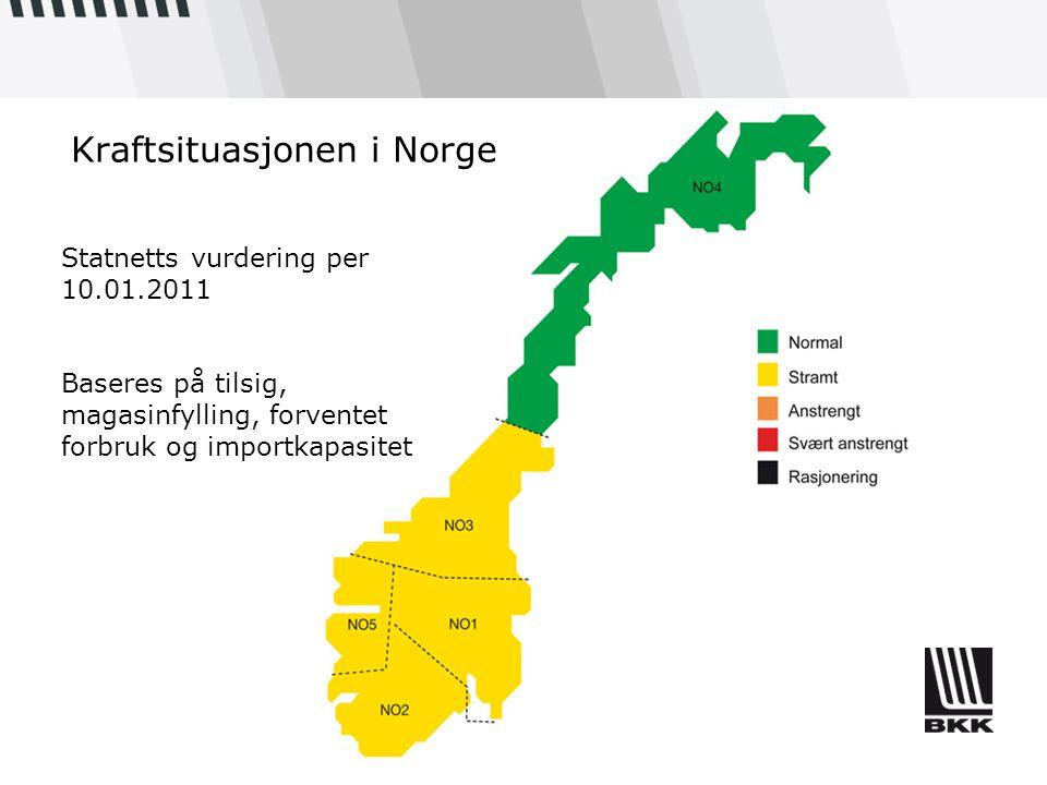 Kraftsituasjonen i Norge Statnetts vurdering per 10.01.2011 Baseres på tilsig, magasinfylling, forventet forbruk og importkapasitet