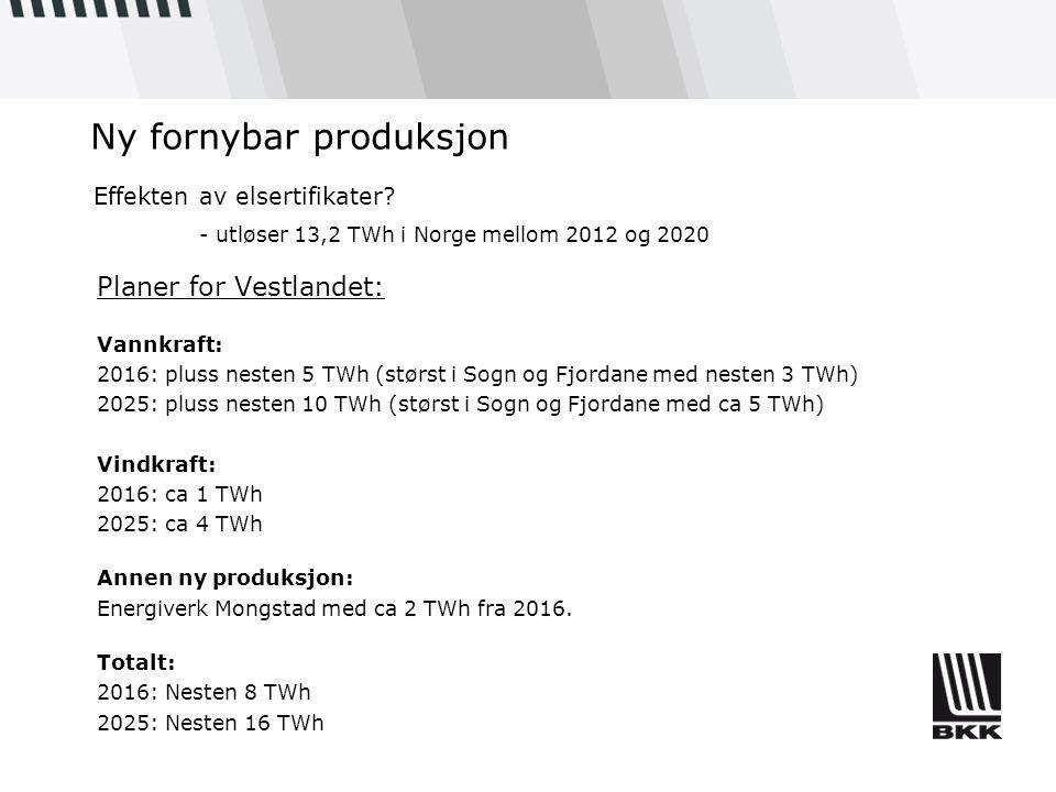 Ny fornybar produksjon Planer for Vestlandet: Vannkraft: 2016: pluss nesten 5 TWh (størst i Sogn og Fjordane med nesten 3 TWh) 2025: pluss nesten 10 T