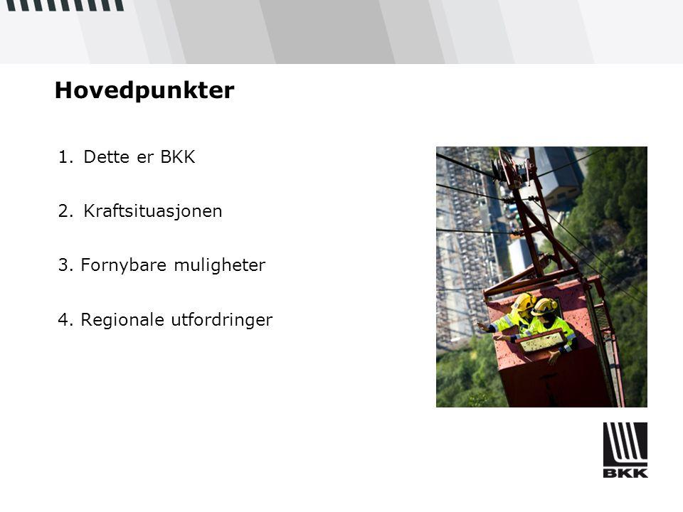 Hovedpunkter 1.Dette er BKK 2.Kraftsituasjonen 3. Fornybare muligheter 4. Regionale utfordringer