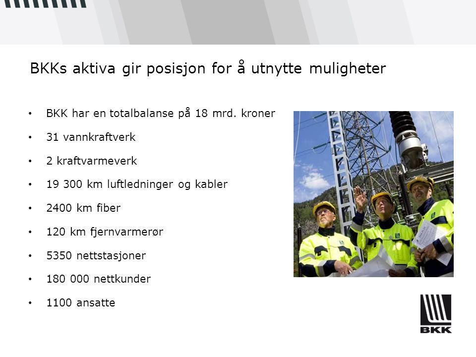 BKKs aktiva gir posisjon for å utnytte muligheter BKK har en totalbalanse på 18 mrd. kroner 31 vannkraftverk 2 kraftvarmeverk 19 300 km luftledninger