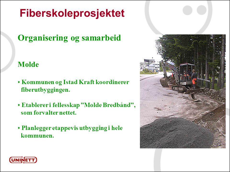 12 Fiberskoleprosjektet Organisering og samarbeid Molde Kommunen og Istad Kraft koordinerer fiberutbyggingen.