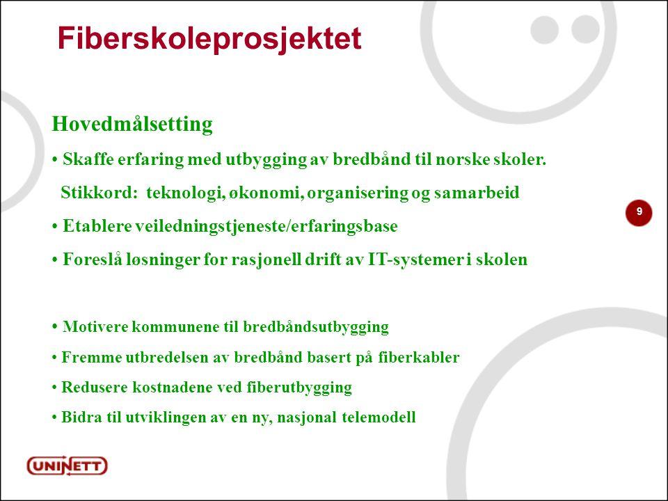 9 Fiberskoleprosjektet Hovedmålsetting Skaffe erfaring med utbygging av bredbånd til norske skoler.
