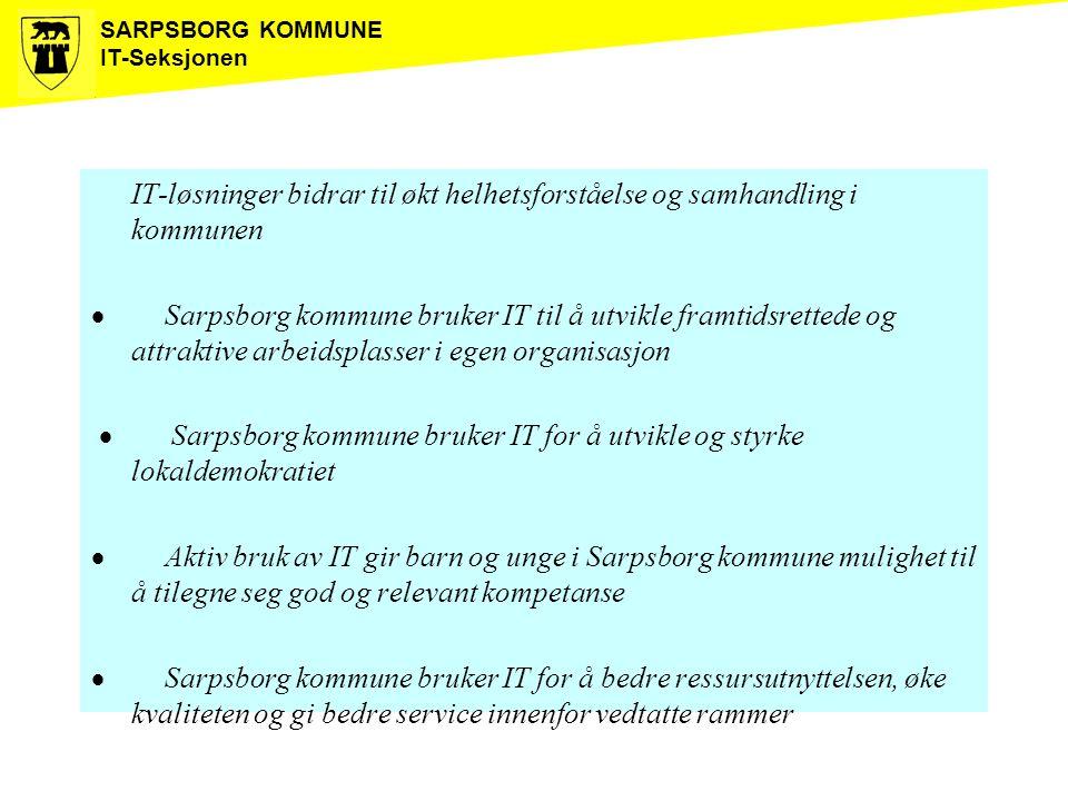 SARPSBORG KOMMUNE IT-Seksjonen IT-løsninger bidrar til økt helhetsforståelse og samhandling i kommunen  Sarpsborg kommune bruker IT til å utvikle fra