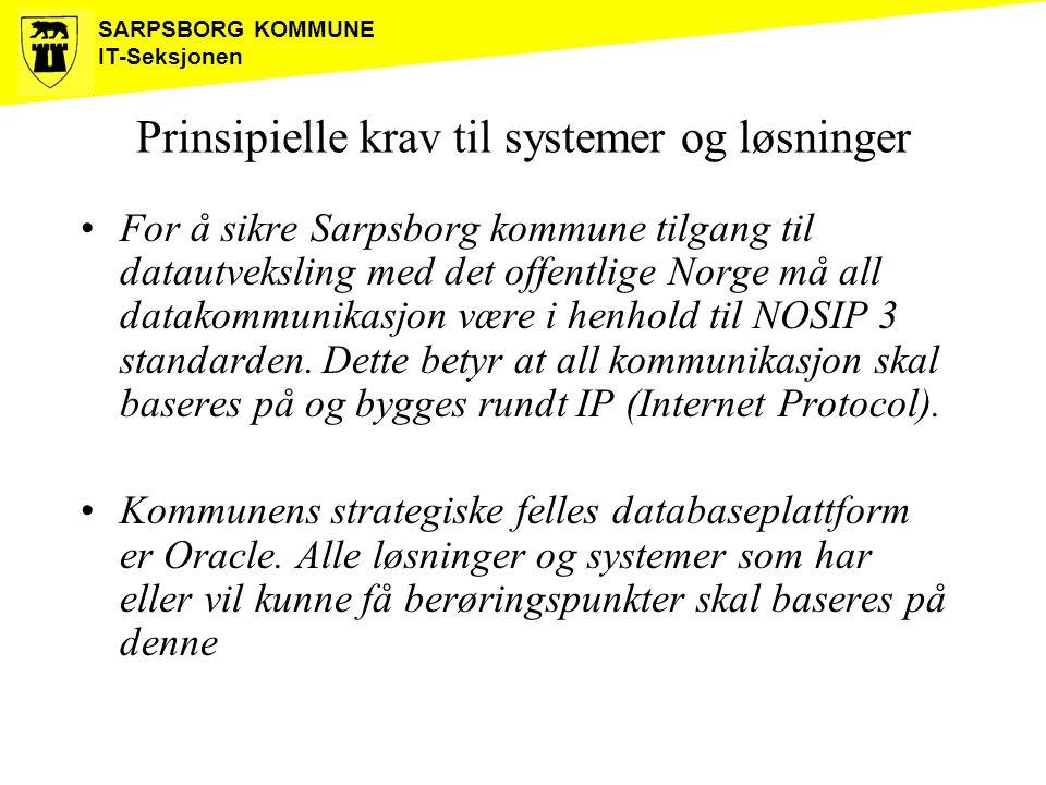SARPSBORG KOMMUNE IT-Seksjonen Prinsipielle krav til systemer og løsninger For å sikre Sarpsborg kommune tilgang til datautveksling med det offentlige