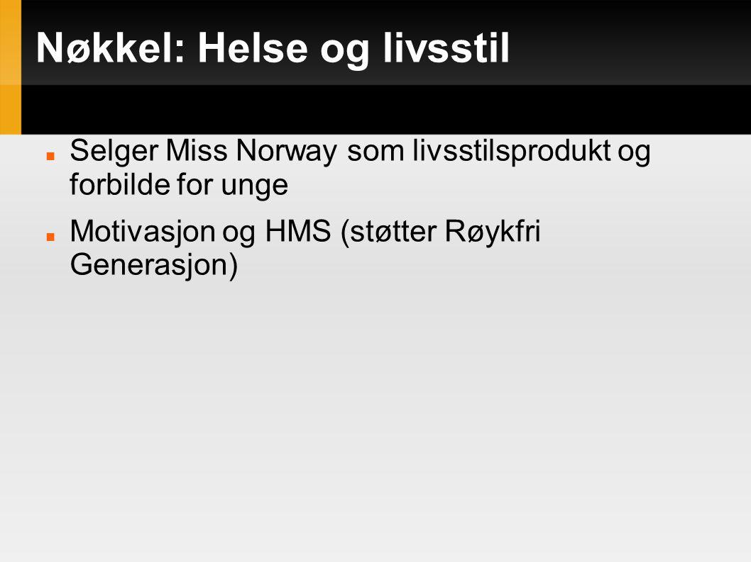 Nøkkel: Helse og livsstil Selger Miss Norway som livsstilsprodukt og forbilde for unge Motivasjon og HMS (støtter Røykfri Generasjon)