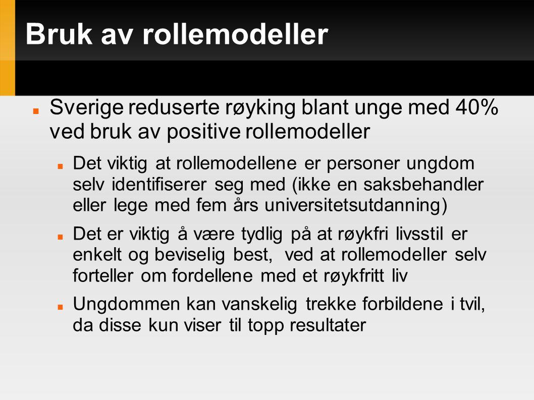 Bruk av rollemodeller Sverige reduserte røyking blant unge med 40% ved bruk av positive rollemodeller Det viktig at rollemodellene er personer ungdom selv identifiserer seg med (ikke en saksbehandler eller lege med fem års universitetsutdanning) Det er viktig å være tydlig på at røykfri livsstil er enkelt og beviselig best, ved at rollemodeller selv forteller om fordellene med et røykfritt liv Ungdommen kan vanskelig trekke forbildene i tvil, da disse kun viser til topp resultater