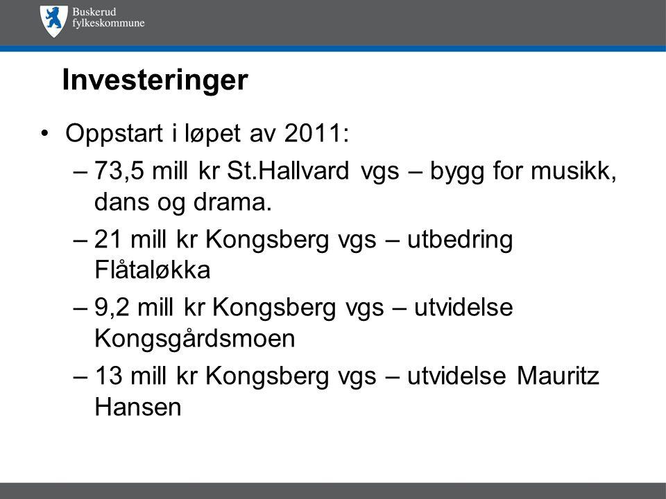 Investeringer Oppstart i løpet av 2011: –73,5 mill kr St.Hallvard vgs – bygg for musikk, dans og drama.