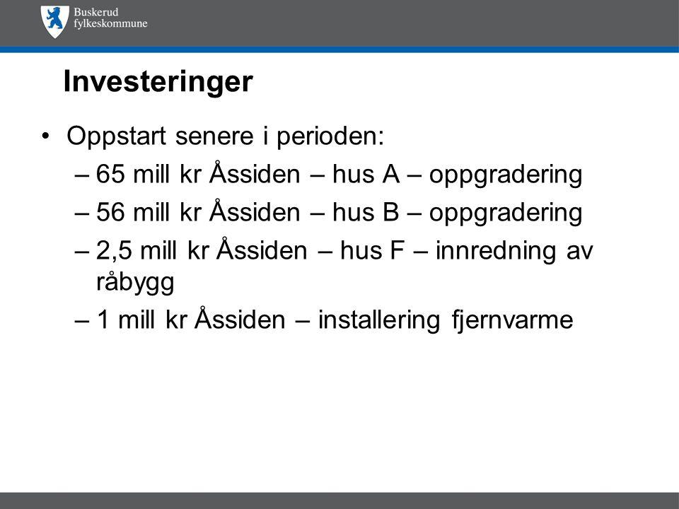 Investeringer Oppstart senere i perioden: –65 mill kr Åssiden – hus A – oppgradering –56 mill kr Åssiden – hus B – oppgradering –2,5 mill kr Åssiden – hus F – innredning av råbygg –1 mill kr Åssiden – installering fjernvarme
