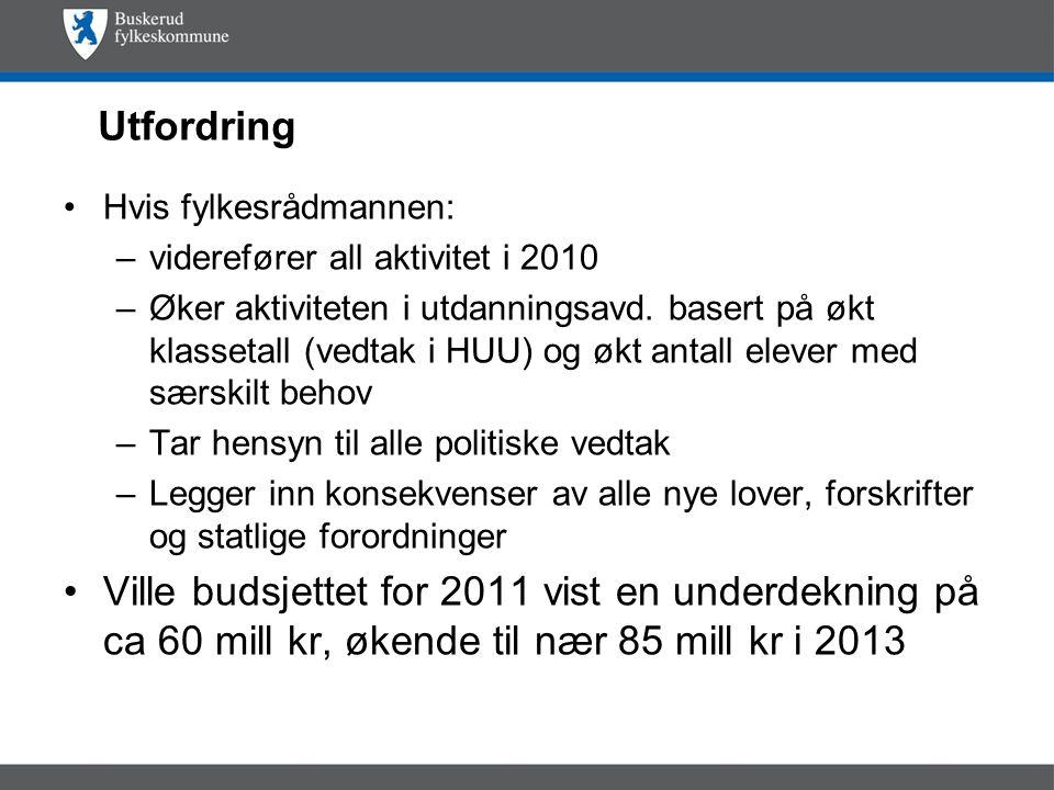 Utfordring Hvis fylkesrådmannen: –viderefører all aktivitet i 2010 –Øker aktiviteten i utdanningsavd.