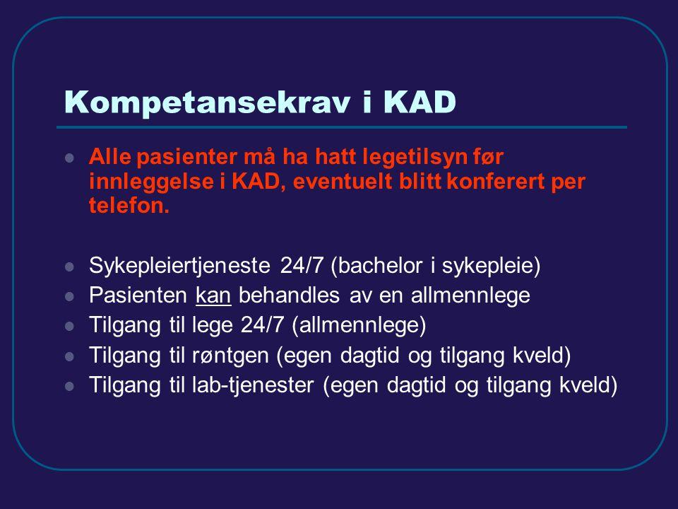 Dimensjonering og omfang Oslo Utgangspunkt: Flest mulig plasser på Aker 1) 10 KAD-plasser i tilknytning til Legevakten fra våren 2013 (åpnet) 2) 22 KAD-plasser i infeksjonsposten (enkeltrom endres til dobbeltrom) høsten 2013 (åpnet) 3) Istandsetting av urologisk avdeling med 22 KAD-plasser i 2014 og flytting av de øvrige 4) Vurdering av mulighet for samlokalisering av inntil 20 KAD-plasser på byens lokalsykehus i 2015