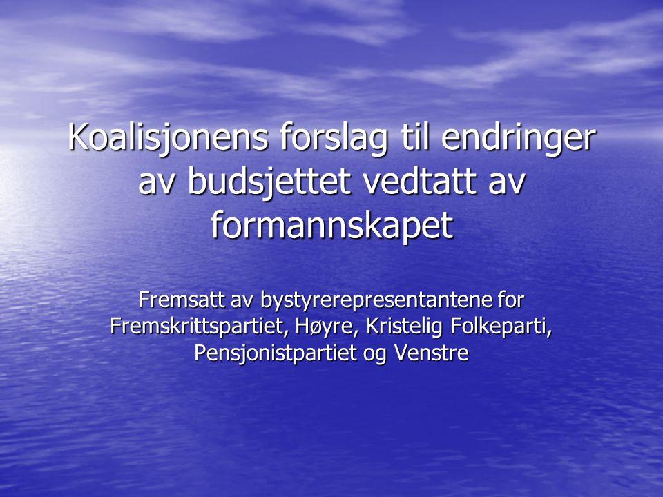Koalisjonens forslag til endringer av budsjettet vedtatt av formannskapet Fremsatt av bystyrerepresentantene for Fremskrittspartiet, Høyre, Kristelig Folkeparti, Pensjonistpartiet og Venstre
