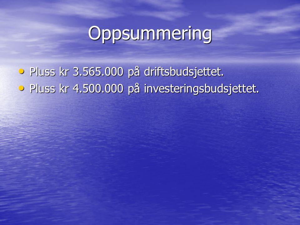 Oppsummering Pluss kr 3.565.000 på driftsbudsjettet. Pluss kr 3.565.000 på driftsbudsjettet. Pluss kr 4.500.000 på investeringsbudsjettet. Pluss kr 4.