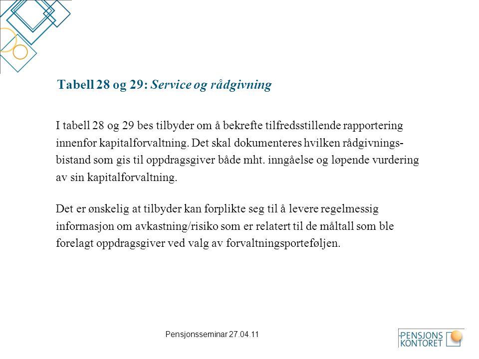 Pensjonsseminar 27.04.11 Tabell 28 og 29: Service og rådgivning I tabell 28 og 29 bes tilbyder om å bekrefte tilfredsstillende rapportering innenfor k