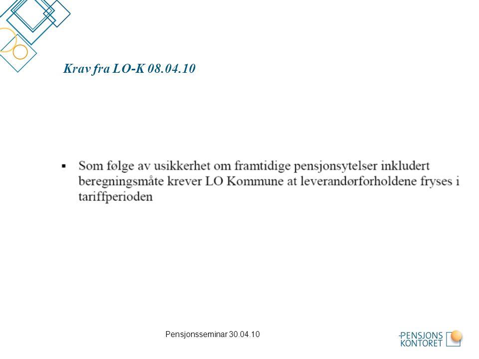 Pensjonsseminar 30.04.10 Krav fra LO-K 08.04.10