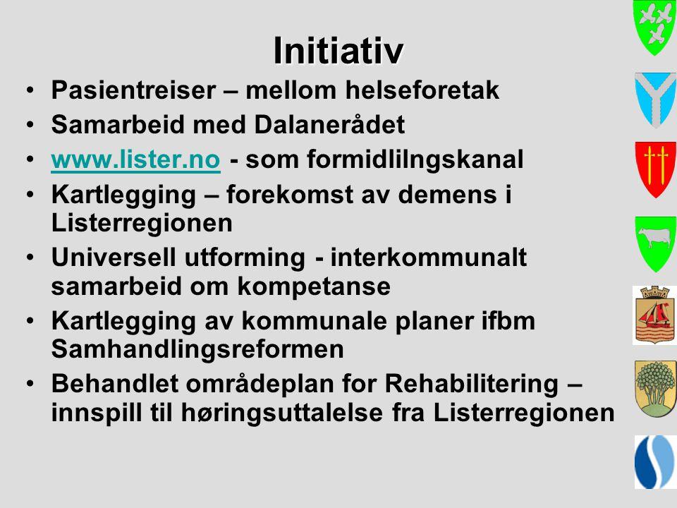 Initiativ Pasientreiser – mellom helseforetak Samarbeid med Dalanerådet www.lister.no - som formidlilngskanalwww.lister.no Kartlegging – forekomst av