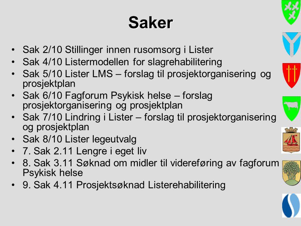 Saker Sak 2/10 Stillinger innen rusomsorg i Lister Sak 4/10 Listermodellen for slagrehabilitering Sak 5/10 Lister LMS – forslag til prosjektorganiseri