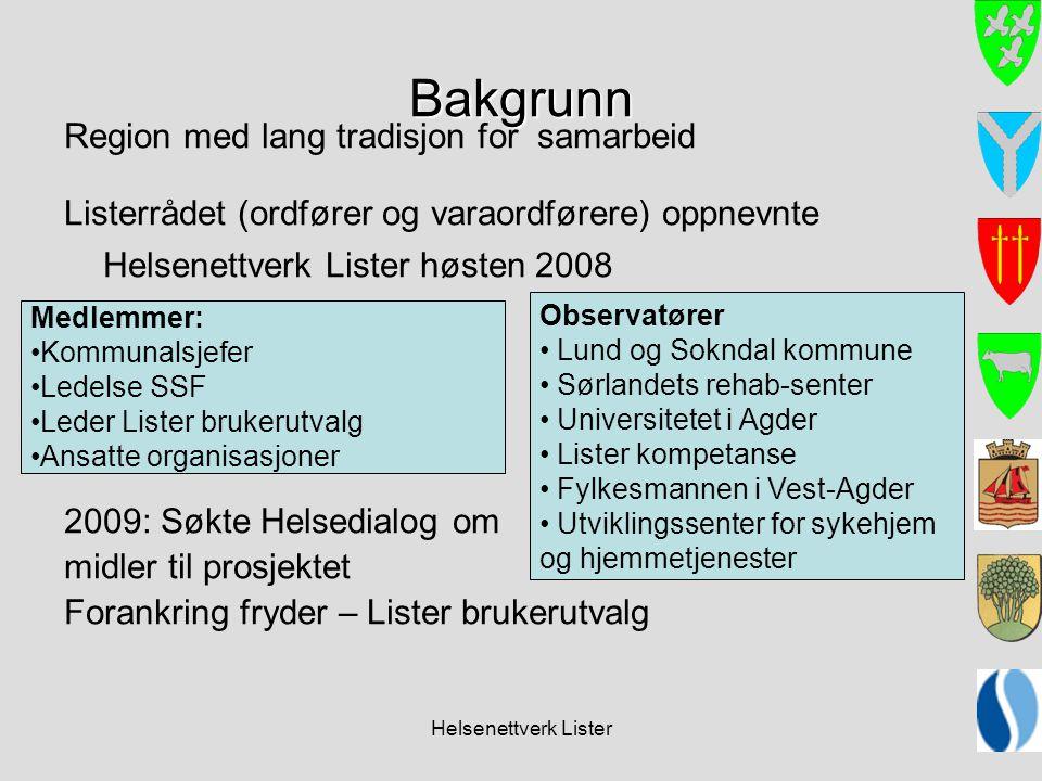 Helsenettverk Lister Bakgrunn Region med lang tradisjon for samarbeid Listerrådet (ordfører og varaordførere) oppnevnte Helsenettverk Lister høsten 20