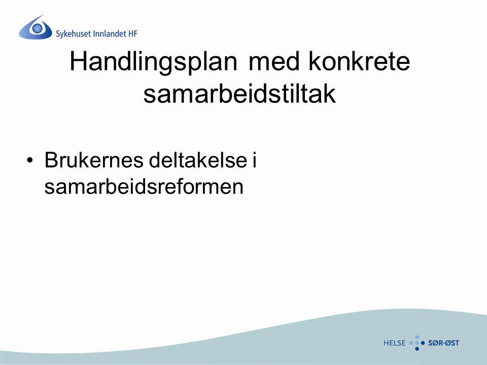 Handlingsplan med konkrete samarbeidstiltak Brukernes deltakelse i samarbeidsreformen