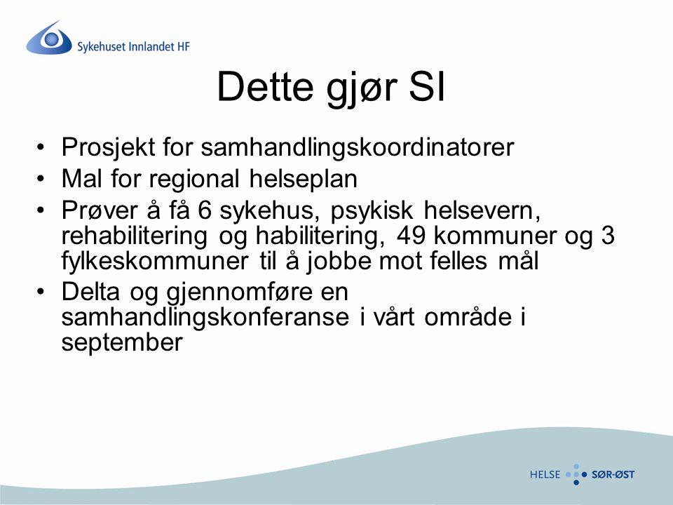 Dette gjør SI Prosjekt for samhandlingskoordinatorer Mal for regional helseplan Prøver å få 6 sykehus, psykisk helsevern, rehabilitering og habiliteri