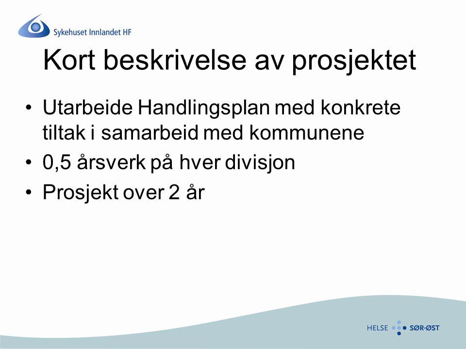 Kort beskrivelse av prosjektet Utarbeide Handlingsplan med konkrete tiltak i samarbeid med kommunene 0,5 årsverk på hver divisjon Prosjekt over 2 år