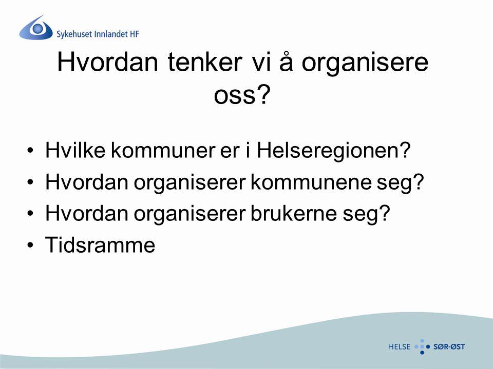 Hvordan tenker vi å organisere oss? Hvilke kommuner er i Helseregionen? Hvordan organiserer kommunene seg? Hvordan organiserer brukerne seg? Tidsramme
