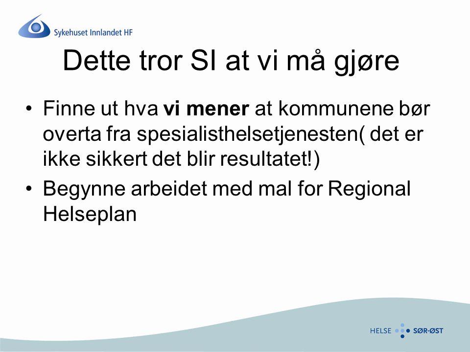 Dette tror SI at vi må gjøre Finne ut hva vi mener at kommunene bør overta fra spesialisthelsetjenesten( det er ikke sikkert det blir resultatet!) Beg
