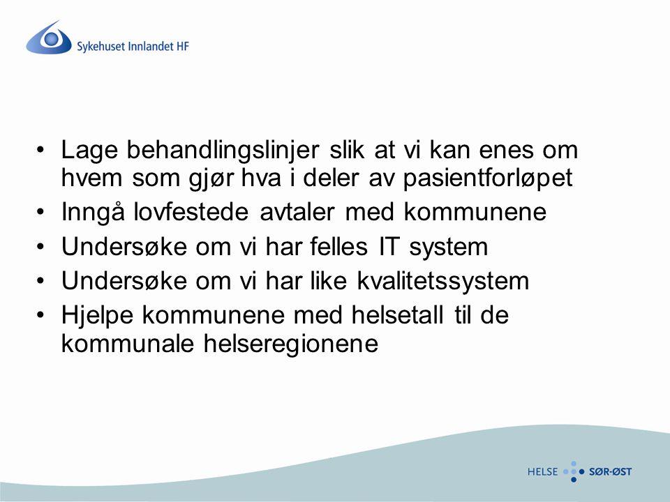 Lage behandlingslinjer slik at vi kan enes om hvem som gjør hva i deler av pasientforløpet Inngå lovfestede avtaler med kommunene Undersøke om vi har