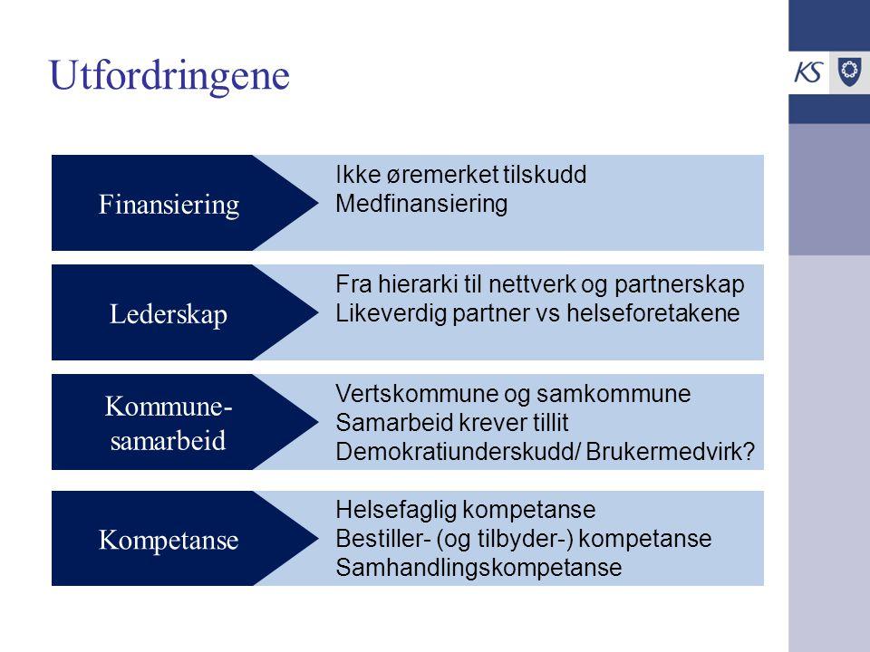 Ikke øremerket tilskudd Medfinansiering Utfordringene Finansiering Fra hierarki til nettverk og partnerskap Likeverdig partner vs helseforetakene Lede