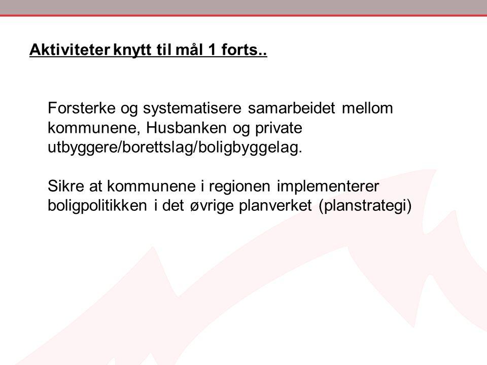 Aktiviteter knytt til mål 1 forts.. Forsterke og systematisere samarbeidet mellom kommunene, Husbanken og private utbyggere/borettslag/boligbyggelag.