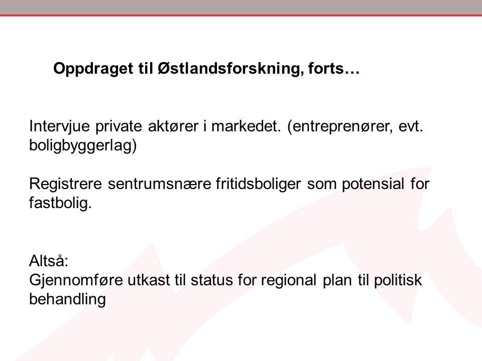 Oppdraget til Østlandsforskning, forts… Intervjue private aktører i markedet. (entreprenører, evt. boligbyggerlag) Registrere sentrumsnære fritidsboli