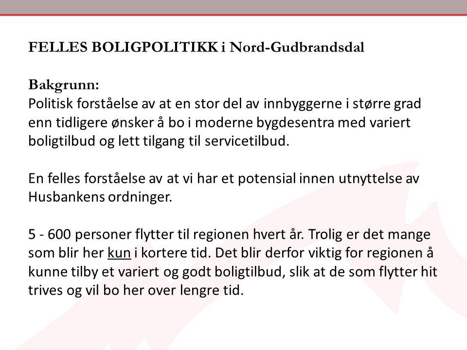 FELLES BOLIGPOLITIKK i Nord-Gudbrandsdal Bakgrunn: Politisk forståelse av at en stor del av innbyggerne i større grad enn tidligere ønsker å bo i mode