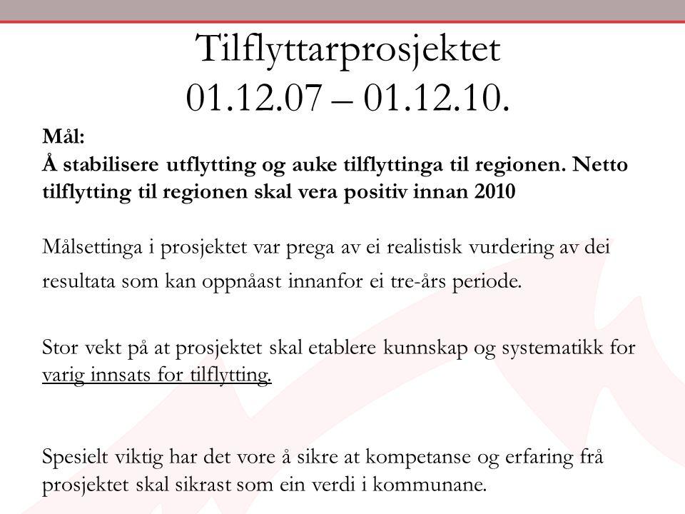 Tilflyttarprosjektet 01.12.07 – 01.12.10.