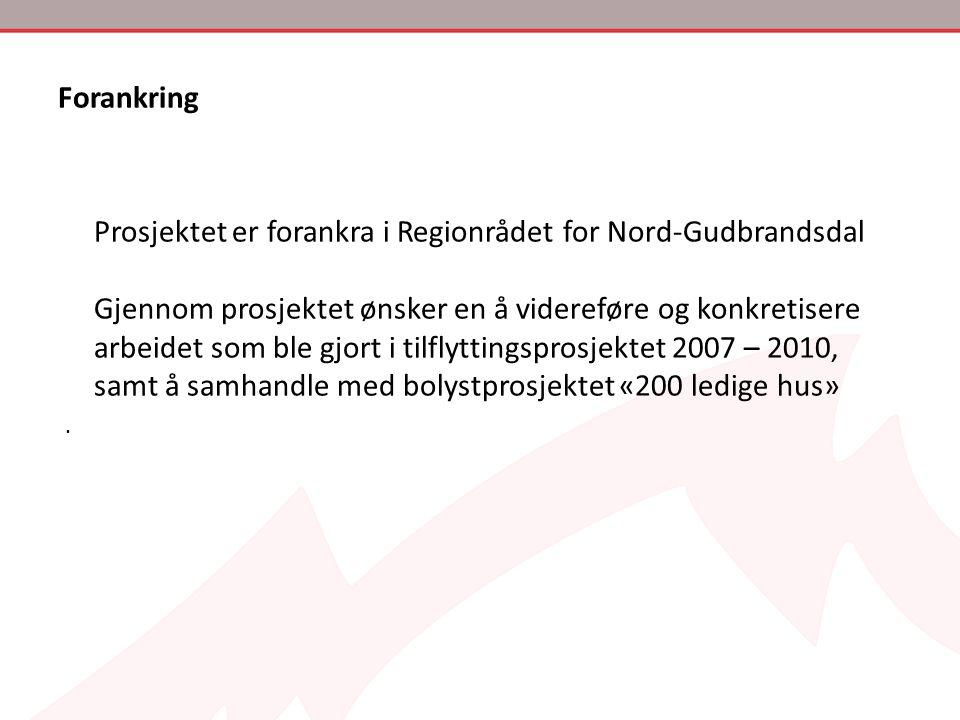Forankring Prosjektet er forankra i Regionrådet for Nord-Gudbrandsdal Gjennom prosjektet ønsker en å videreføre og konkretisere arbeidet som ble gjort
