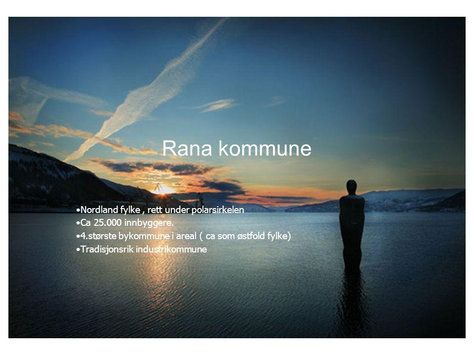 Rana kommune Nordland fylke, rett under polarsirkelen Ca 25.000 innbyggere.
