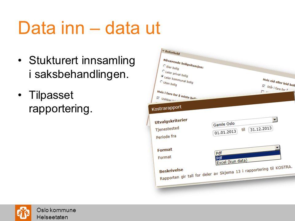 Oslo kommune Helseetaten Data inn – data ut Stukturert innsamling i saksbehandlingen. Tilpasset rapportering.