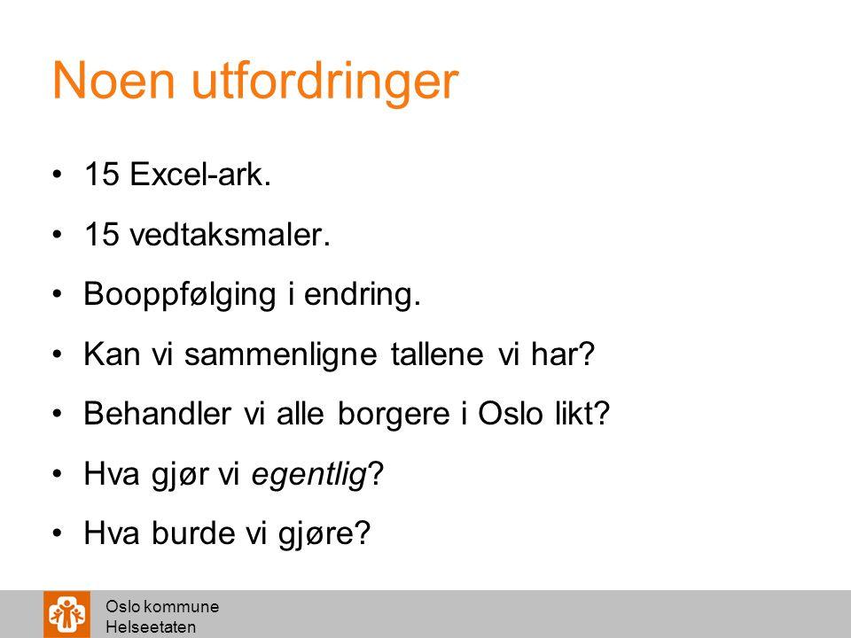 Oslo kommune Helseetaten Noen utfordringer 15 Excel-ark. 15 vedtaksmaler. Booppfølging i endring. Kan vi sammenligne tallene vi har? Behandler vi alle