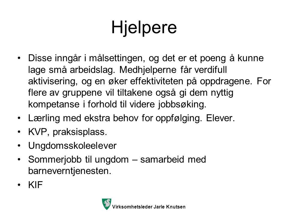 Virksomhetsleder Jarle Knutsen Hjelpere Disse inngår i målsettingen, og det er et poeng å kunne lage små arbeidslag. Medhjelperne får verdifull aktivi