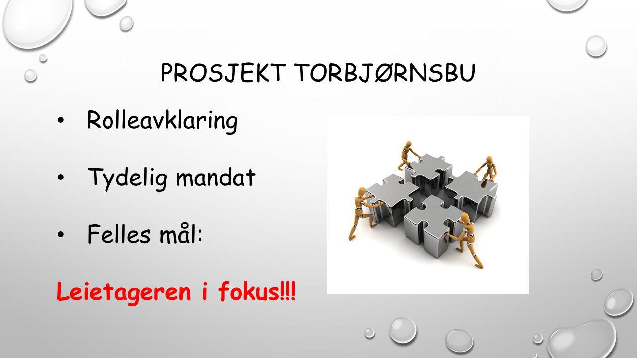PROSJEKT TORBJØRNSBU Rolleavklaring Tydelig mandat Felles mål: Leietageren i fokus!!!