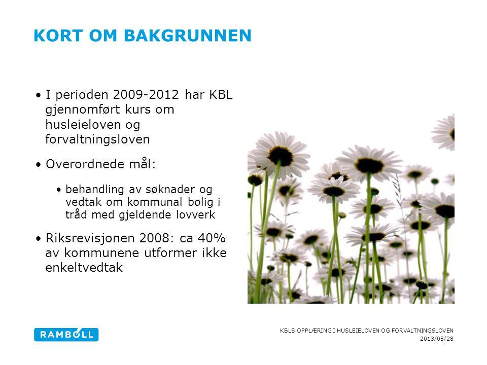 2013/05/28 KBLS OPPLÆRING I HUSLEIELOVEN OG FORVALTNINGSLOVEN KORT OM BAKGRUNNEN I perioden 2009-2012 har KBL gjennomført kurs om husleieloven og forv