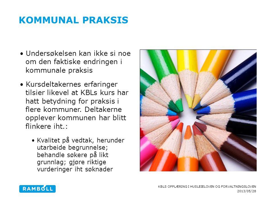 2013/05/28 KBLS OPPLÆRING I HUSLEIELOVEN OG FORVALTNINGSLOVEN KOMMUNAL PRAKSIS Undersøkelsen kan ikke si noe om den faktiske endringen i kommunale pra