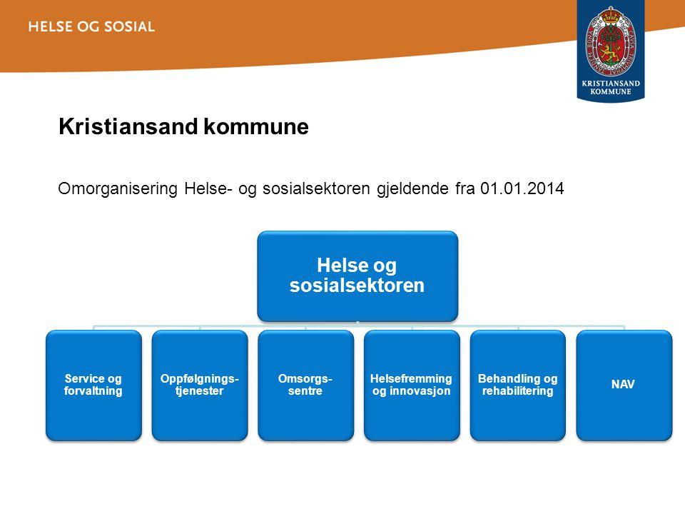 Omorganisering Helse- og sosialsektoren gjeldende fra 01.01.2014 Helse og sosialsektoren Service og forvaltning Oppfølgnings- tjenester Omsorgs- sentr
