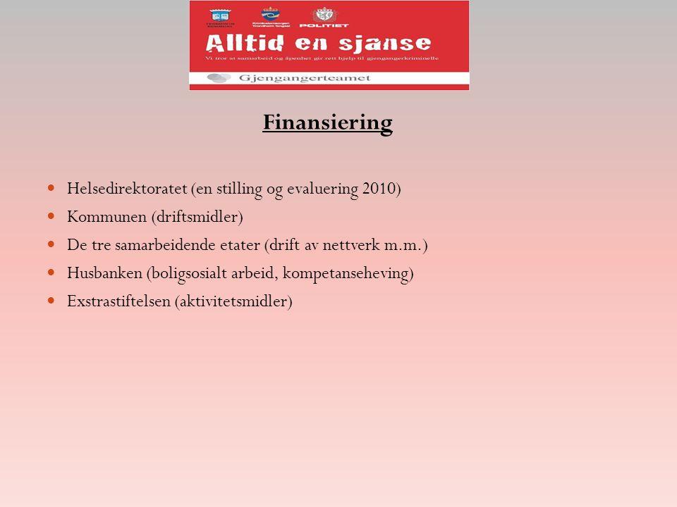 Finansiering Helsedirektoratet (en stilling og evaluering 2010) Kommunen (driftsmidler) De tre samarbeidende etater (drift av nettverk m.m.) Husbanken